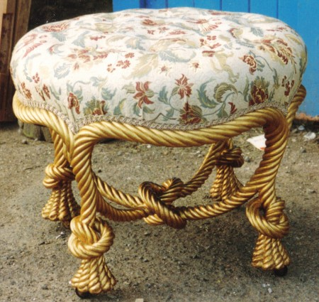 Antique french timber 'ropework' stool